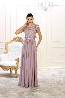 c86cada94 Sort kjole med lange ærmer MayQueen 7686 - MayQueen 2019 - tp kjoler