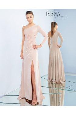 a2db4f813a40 Oneshoulder langærmet festkjole i rosa