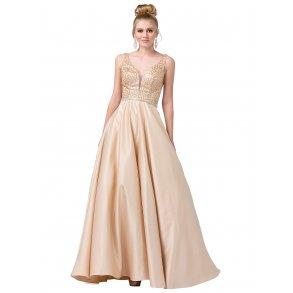 b9419907549d Champagnefarvet gallakjole med glitter 2805
