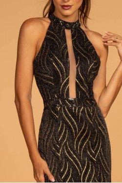 51de5388ac65 Sort kjole med gyldne detaljer 2659