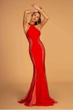 2adbf44639f4 Rød gallakjole med glitter 2640