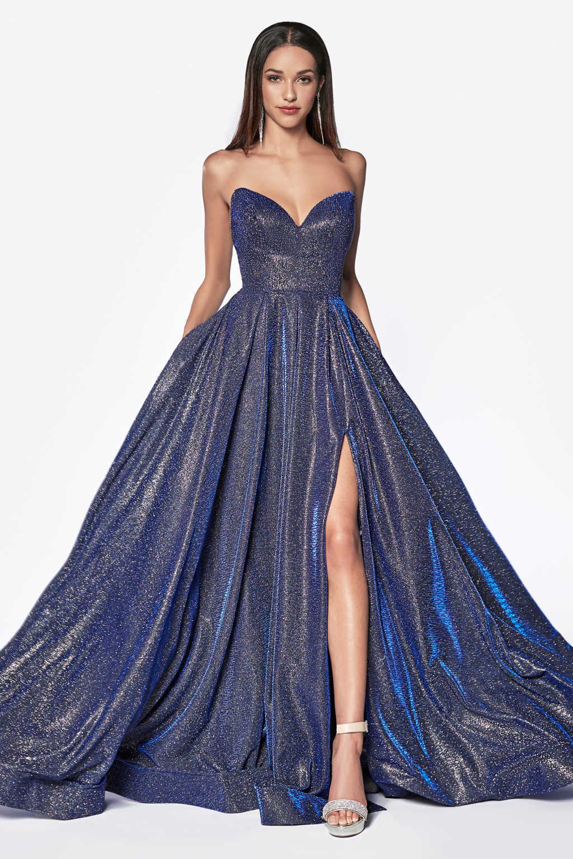9c11f1942134 Stropløs shimmer gallakjole med slids CJ522 - Cinderella 2019 - tp kjoler