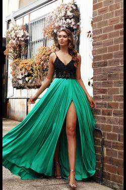 Gul og coral farvet kjole med slæb JX3032