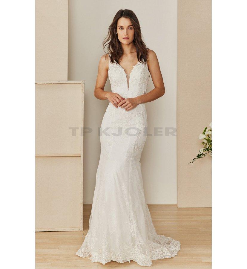 Tætsiddende brudekjole med dyb ryg - Brudekjoler - tp kjoler