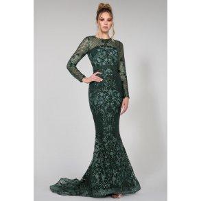 Grøn lang kjole med ærmer og pailletter 14637